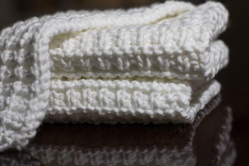 Hand Knit Dishcloth Set of 3  Hand Knit Washcloth  White image 0