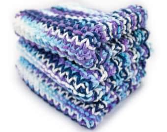 Hand Knit Dishcloth Set of 3 - Hand Knit Washcloth - Blue Moon