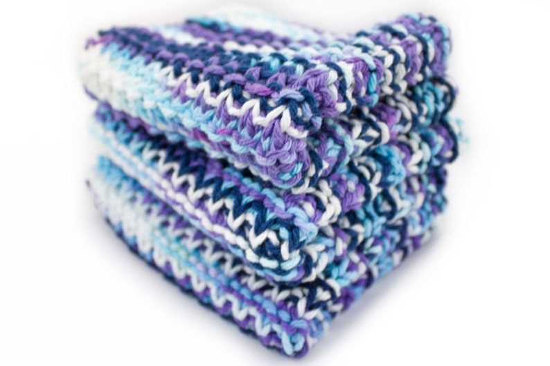 Hand Knit Dishcloth Set of 3  Hand Knit Washcloth  Blue Moon image 0