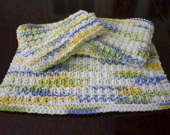 Hand Knit Dishcloth Set of 3 - Hand Knit Washcloth - Cool Breeze Ombre