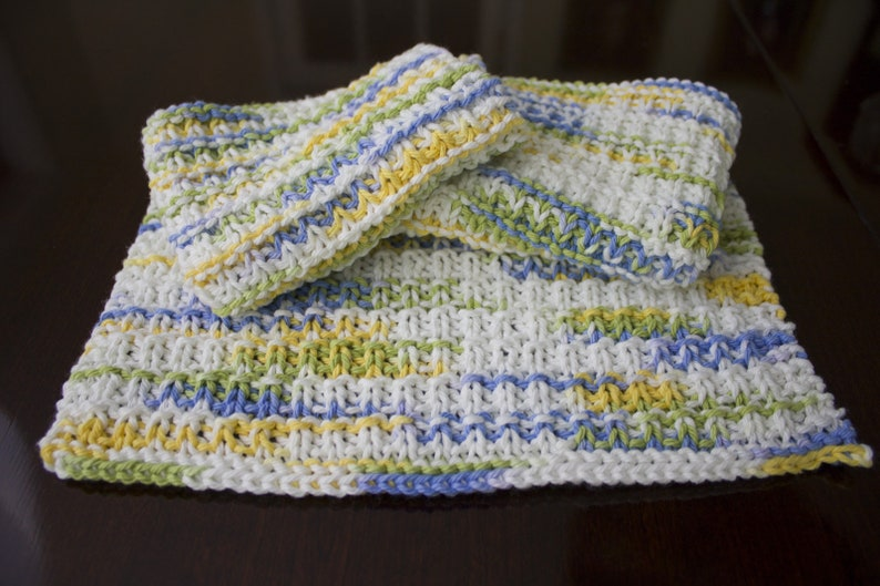 Hand Knit Dishcloth Set of 3  Hand Knit Washcloth  Cool image 0