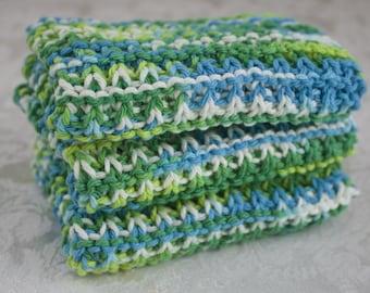 Hand Knit Dishcloth Set of 3 - Hand Knit Washcloth - Emerald Energy