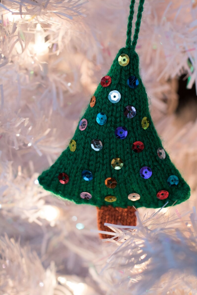 Hand Knitted Christmas Tree Ornament with Sequins image 0
