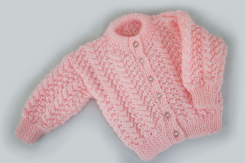 Knit baby cardigan newborn to 3 months  baby sweater Pink