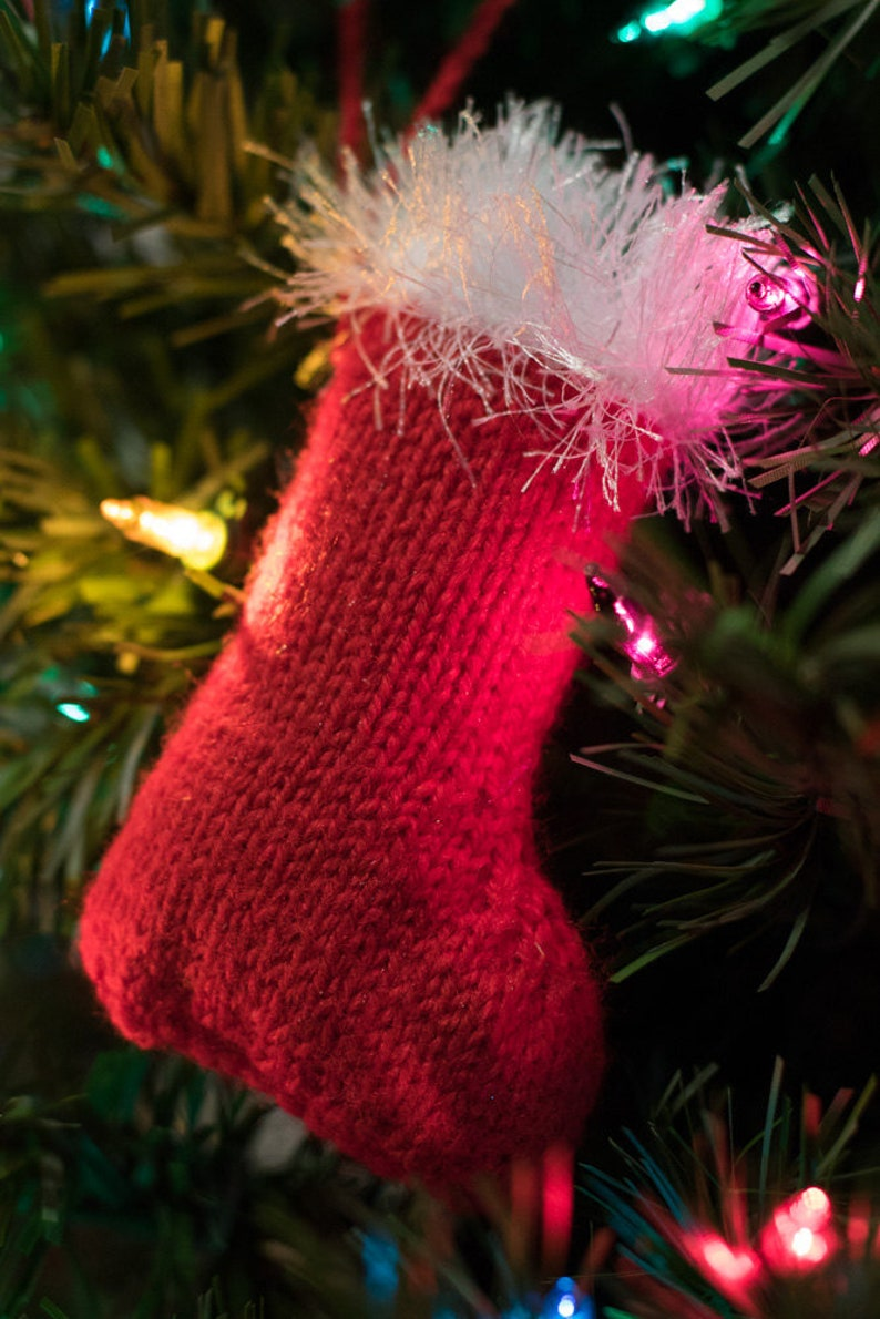 Hand Knitted Christmas Tree Ornament Stocking image 0