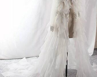 Custom color bridal wedding cape cloak overlay veil