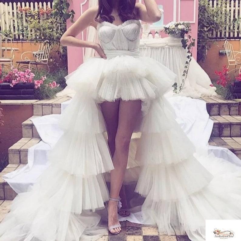 Bride bridal wedding overskirt detachable train ruffle
