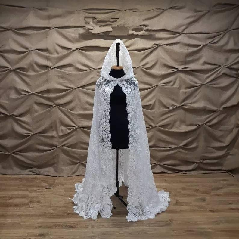Wedding bridal cape Lace cape Wedding cape with hood Wedding cloak Chapel veil mantilla church coat church cape Lace Cape jacket