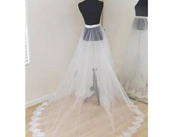 Wedding bridal detachable train skirt overlay plus size party overskirt USA