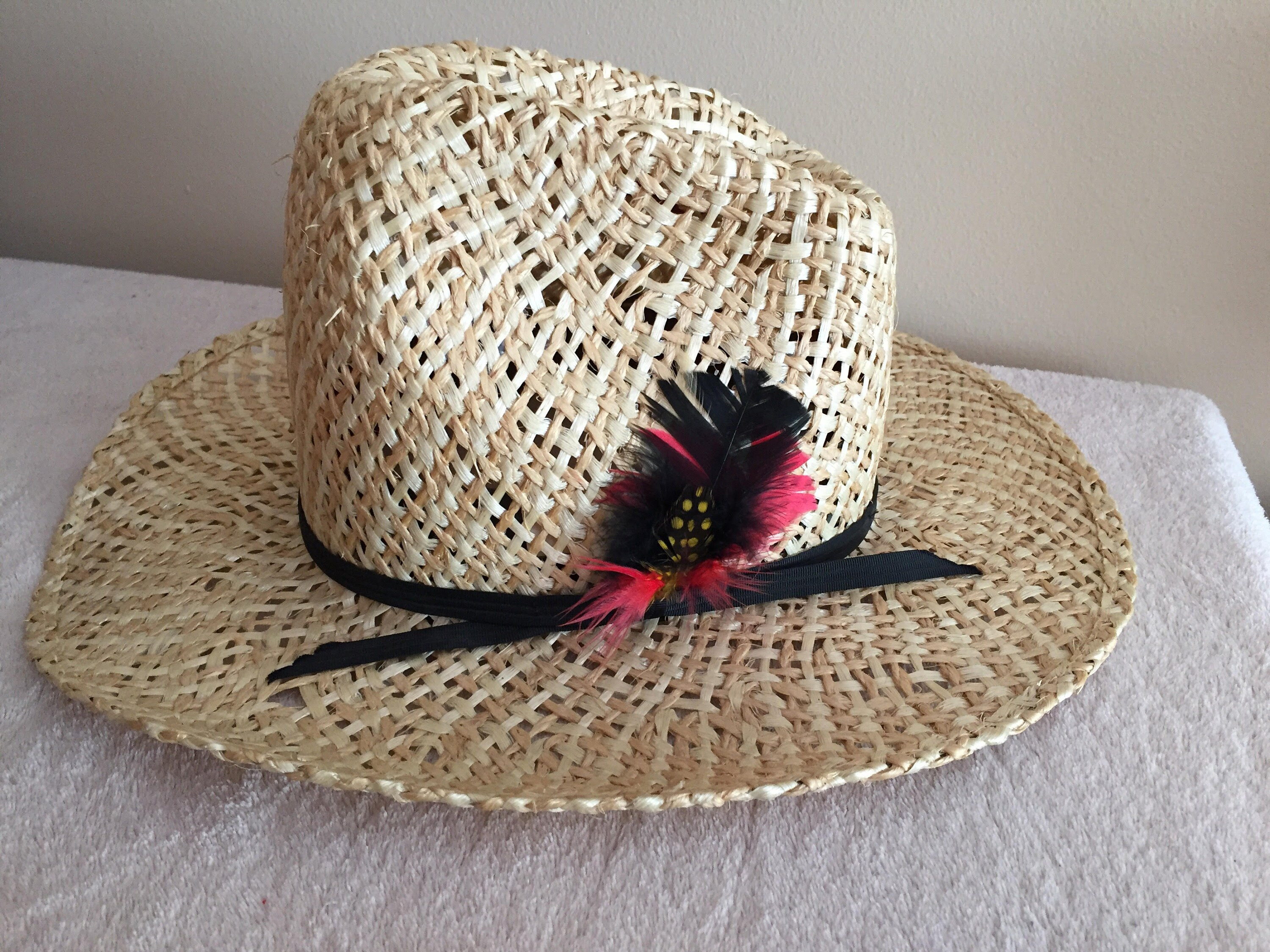 Bailey U Rollit Youth Straw Cowboy Hat Feathered Size 6 1 2  4a6d059541f
