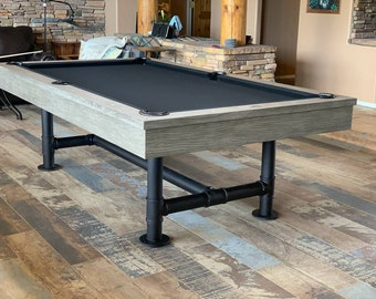 7u0027 Or 8u0027 Industrial Pool Table   Weathered Gray Pool Table   Dining Top  Option Available