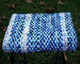 Twined Rag Rug, Handmade Woven Rug, Rag Rug, Upcycled Denim Rug, Country Farmhouse Decor, Handwoven Textile