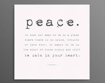 Peace Canvas Sign, Ready to Hang Gallery Wrapped Canvas Wall Art, Peace, be calm in your heart, Typography word art,