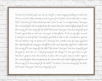 For Good Song Lyrics Art Print Poster, Wicked The Musical Song Lyrics, Wicked Art Print, Because I Knew You I Have Been Changed For Good