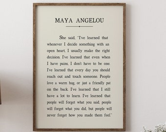 Maya Angelou Quote Ready-To-Frame Art Print Poster, Maya Angelou I've Learned Book Collection Inspirational Wall Art, Motivational Picture
