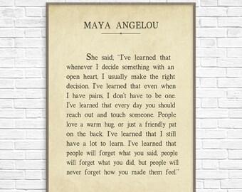Large 24x36 Inch Maya Angelou I've Learned Art Print Poster, Maya Angelou Quote, Maya Angelou Art Print, Inspirational Art