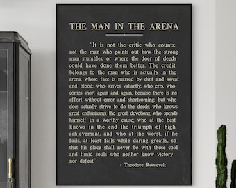 The Man In The Arena, Theodore Roosevelt Quote, Theodore Roosevelt Speech, Theodore Roosevelt Ready-To-Frame Motivational Art Print Poster