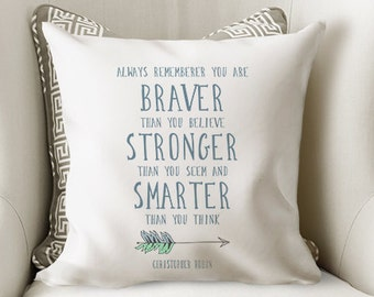 Winnie The Pooh Quote Pillow, Christopher Robin Quote, Nursery Pillow, Baby Gift, Boys Room, Pillow Cover, Farmhouse Pillow, Farmhouse Decor