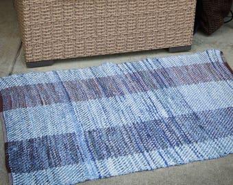 Woven Rug, Woven Rag Rug, Rag Rug, Country Farmhouse Decor, Kitchen Rug, Handwoven Textile