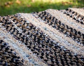 Twined Rag Rug, Handmade Woven Rag Rug, Rag Rug, Upcycled Denim Fabric Rug, Country Farmhouse Decor, Handwoven Textile
