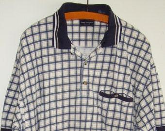 80's Safe Harbor Blue Checkered Polo
