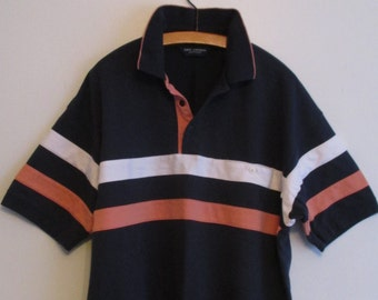 80's Safe Harbor Sporty Blue Stripe Polo Pullover