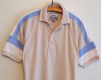 70's Hukapoo Blue and Beige Leisure Polo
