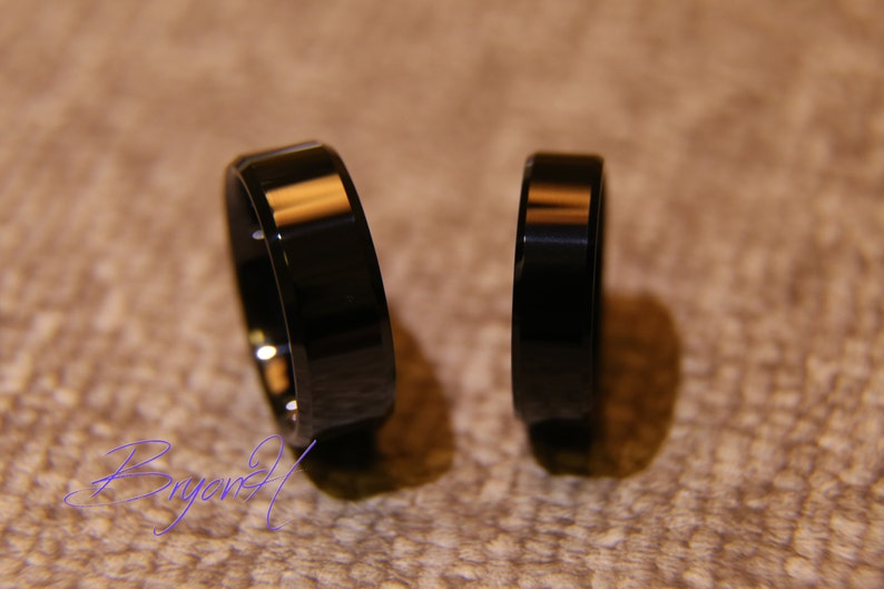 8MM 6MM his and her promise ring Black Tungsten Carbon ring,Tungsten wedding bands,black women/'s Wedding ring women/'s wedding ring