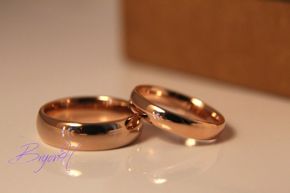 Rose Gold Tungsten Carbide Rings For Men And Women Rose Gold Etsy