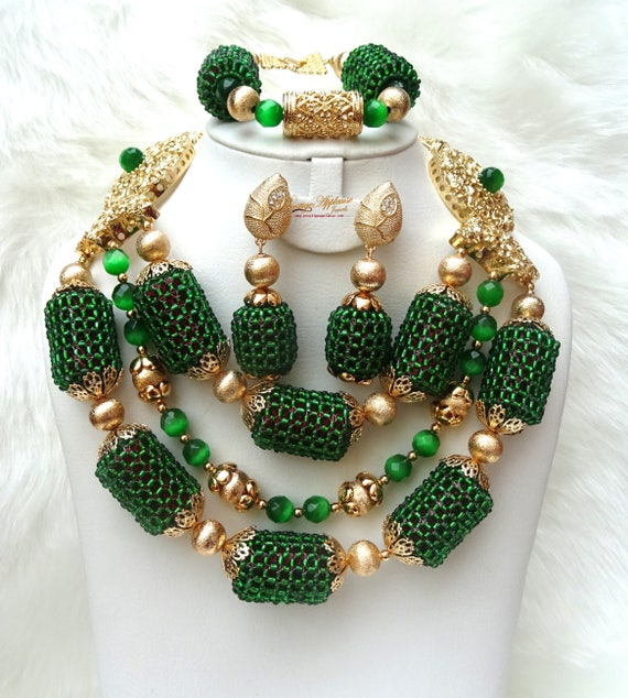 Latest Design Mixed Peach Beautiful Ball Design Wedding Bridal African Beads Jewellery Set