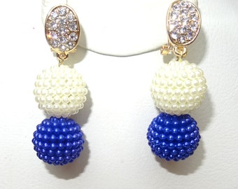 White and Blue Bead Pierced & Non Pierce Ear Earring Party Jewellery