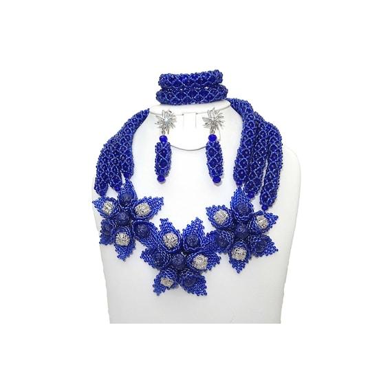 Latest design Navy Blue African Nigerian Beads Necklace Bridal Jewellery Set