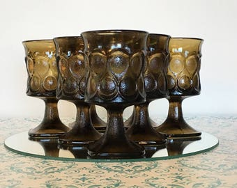 7 Vintage Noritake Spotlight Walnut Brown WINE Goblets