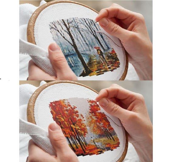 Romantic Walk in Paris Chart Counted Cross Stitch Patterns Needlework DIY