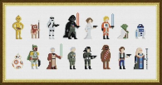 Star Wars Cross Stitch Pattern Pixel People Pdf Darth Vader Etsy