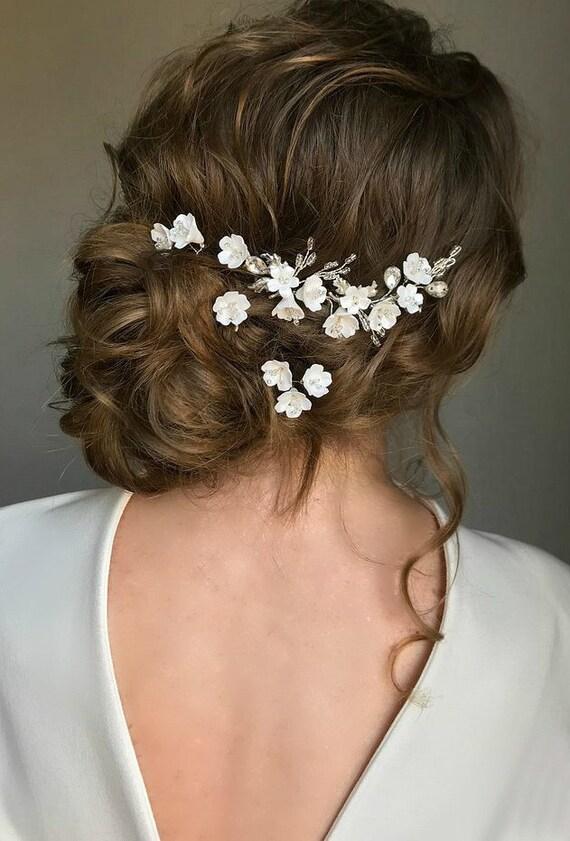 Set Bridal Hair Pins Small White Flower Leaves Wedding Hair Accessories Hair Piece For Bride Crystal