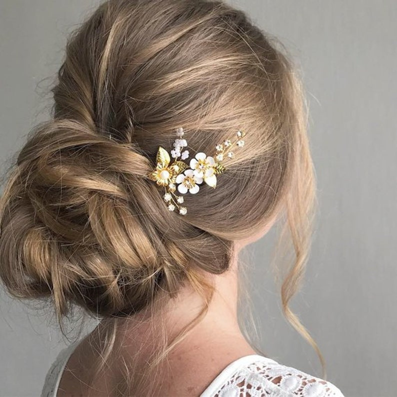 Kleine Goldene Hochzeit Haarnadel Mit Blumen Und Strass Braut Haarteile Verlässt Brautjungfern Kopfstück Hochzeit Haarspange Kopfstück