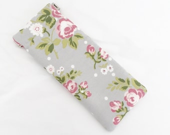 Soft Glasses Case - Grey Floral Sunglasses Case With Pink Cabbage Rose Print - Perfect Gift for Her