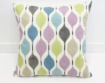 Contemporary Cushion Covers - 45 x 45 cm / Pastel Cushion Covers / Geometric Cushion Covers - Blue, Grey, Lime, Purple