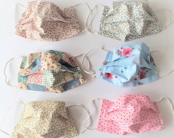 Women's Face Mask - Re-usable, Washable, Floral, Polka Dot, Filter Pocket, Double Ply