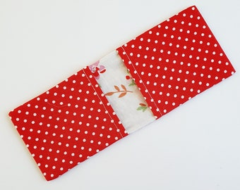 Red Polka Dot Card Holder With Floral Lining - Gift for Her