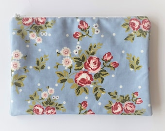 Cath Kidston Style, Oilcloth iPad Case / Tablet Case/ iPad Cover - Pale Blue with Pink Cabbage Roses