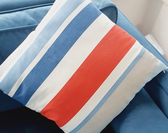 Blue, Grey, Red & White Striped Cushion Covers - 40x40cm - Perfect for Boys' Room