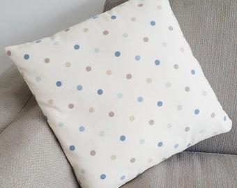 Cream Cushion Covers with Denim Blue, Duck Egg & Beige Polka Dots - 40x 40 cm