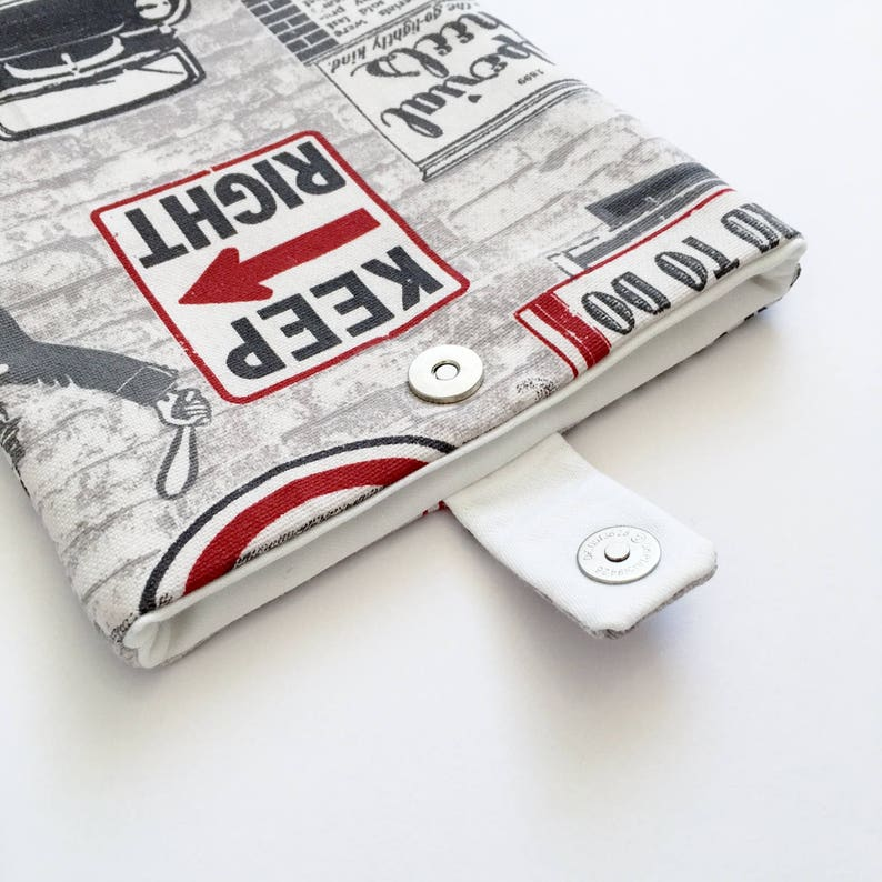 Vintage Unisex Kindle Cover/ eReader Case: Grey and Red Fabric image 0