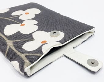 Floral, Modern Kindle Cover/ eReader Case - Grey Fabric with Large Cream Flowers/ Gift for her/ Can be custom made for any tablet/ e-reader