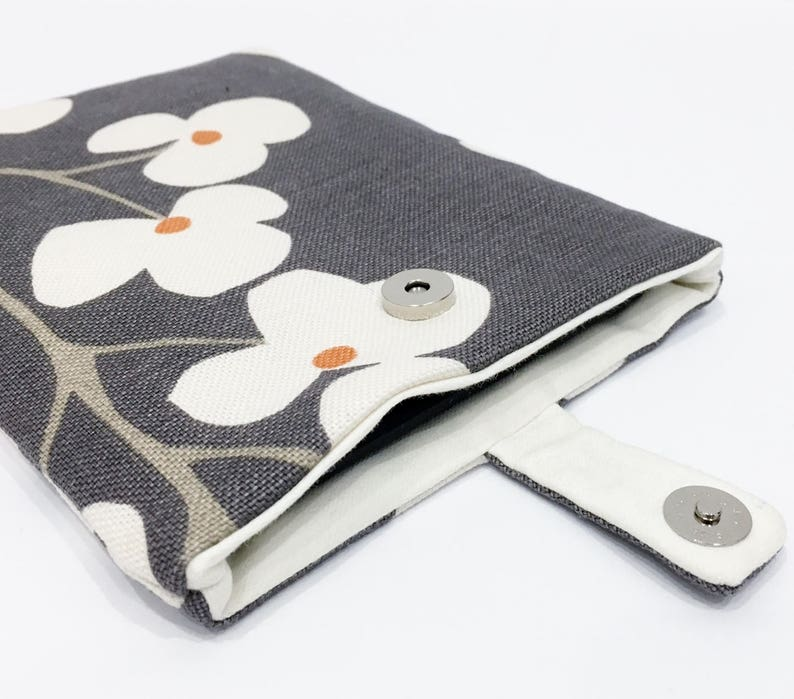 Floral Modern Kindle Cover/ eReader Case  Grey Fabric with image 0