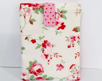 Cath Kidston Fabric Kindle Case / e-Reader Case/ Kindle Cover - Off White with Pink Cabbage Roses/ Gift for Her