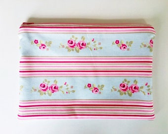 Shabby Chic iPad Cover / Tablet Cover - Duckegg fabric with pink floral design and pink stripes