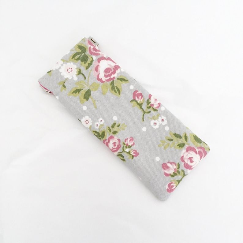 Soft Glasses Case  Grey Floral Sunglasses Case With Pink image 0
